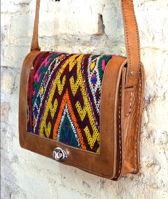 Boho leather and tribal blanket satchel, Oujda - The Stellar Boutique