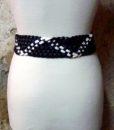 70s vintage belt, woven black & white 111