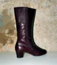 70s vintage burgundy leather fur lined boots 11