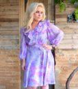 70s vintage floral dress, lilac and purple floral detail 11