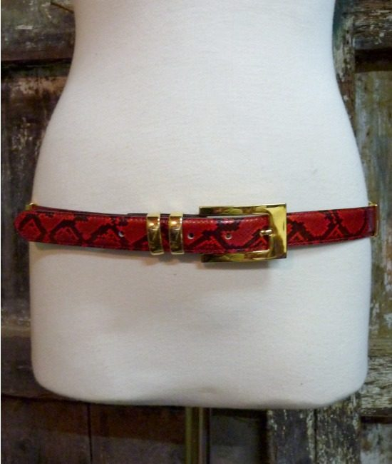 70s vintage red leather belt, faux snakeskin 1