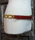 70s vintage red leather belt, faux snakeskin 11