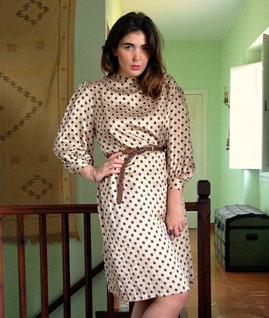 70s vintage satin polka dot dress 1