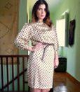 70s vintage satin polka dot dress 11