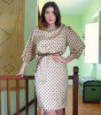 70s vintage satin polka dot dress 111