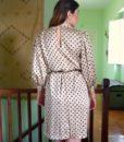 70s vintage satin polka dot dress 1111