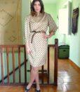 70s vintage satin polka dot dress 11111