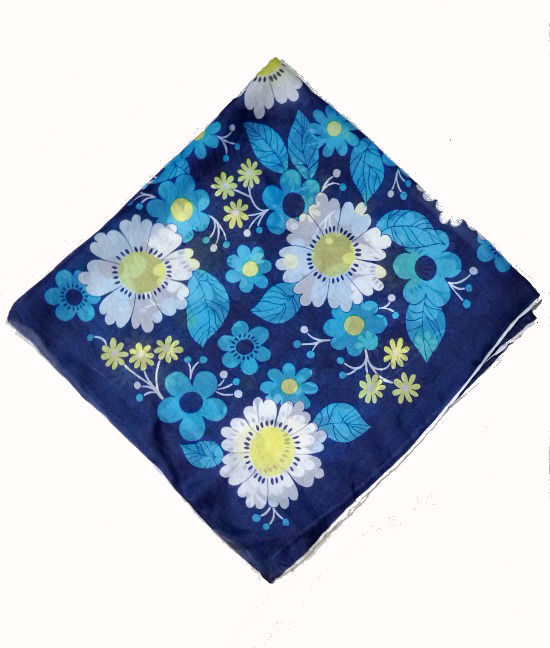 70s vintage scarf blue flower power 1