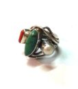 70s vintage silver ring turquoise, coral & pearl stones 1111