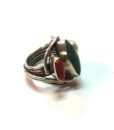 70s vintage silver ring turquoise, coral & pearl stones 11111
