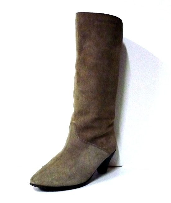 70s vintage taupe suede fur lined boots 1
