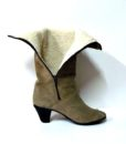 70s vintage taupe suede fur lined boots 11