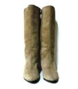 70s vintage taupe suede fur lined boots 11111