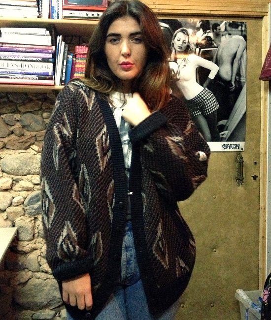 80s vintage chunky knit grandad cardigan 1