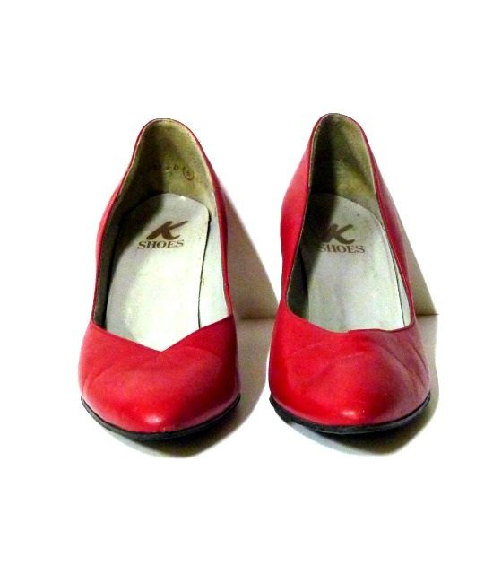80s vintage red leather shoes - The Stellar Boutique
