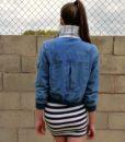 70s vintage denim bomber jacket back