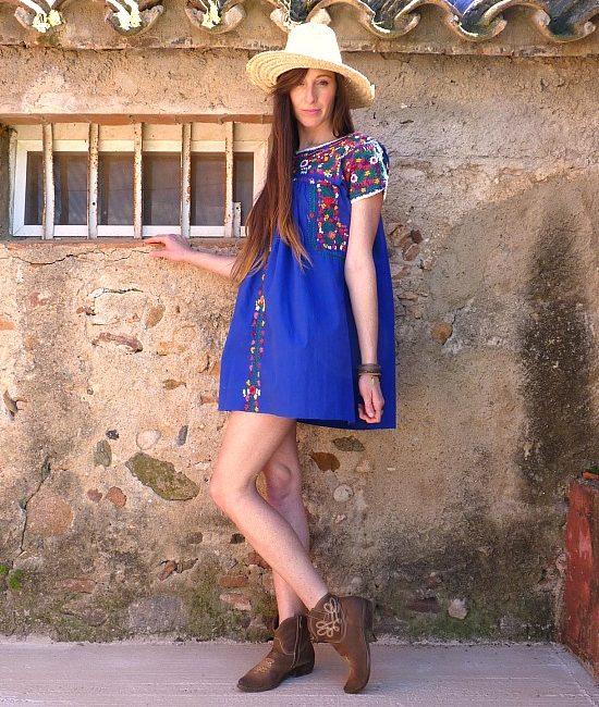 70s vintage folk dress 1111