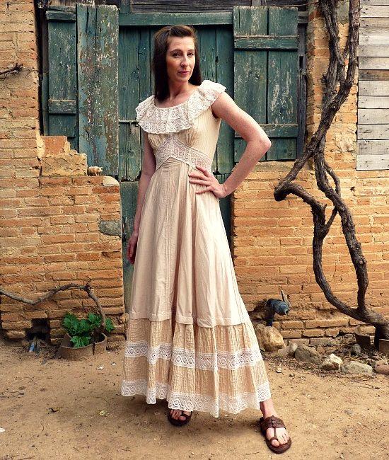 70s vintage lace maxi dress 1
