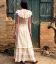 70s vintage lace maxi dress back