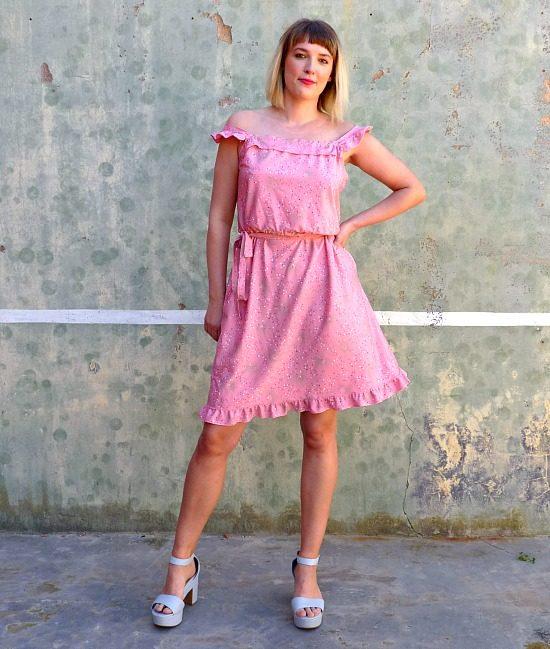 70s vintage pink summer dress 1