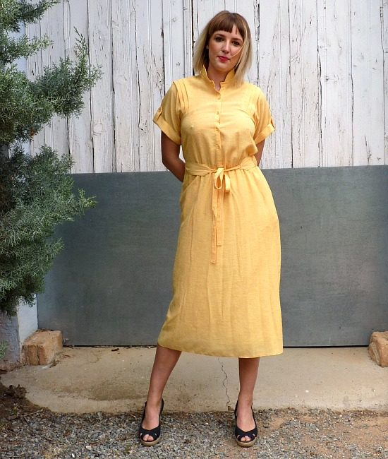 70s vintage yellow midi dress 1