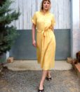 70s vintage yellow midi dress 3
