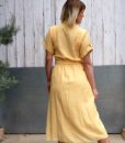 70s vintage yellow midi dress back