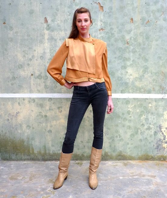80s vintage gold blouse 1