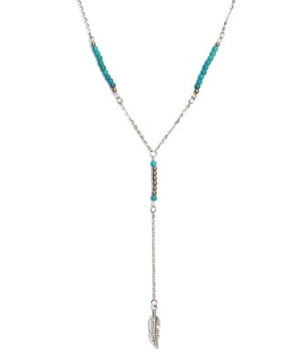 boho feather bead necklace wh