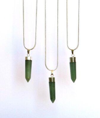 emerald quartz bullet pendant