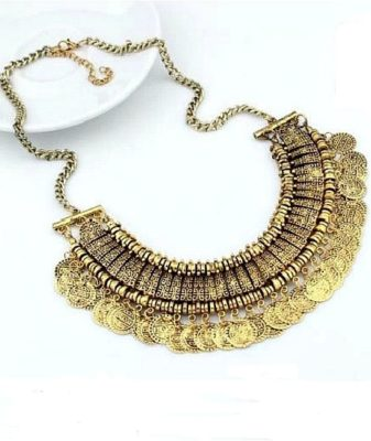 indian boho coin necklace gold 1