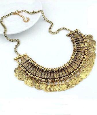 indian boho coin necklace gold 1