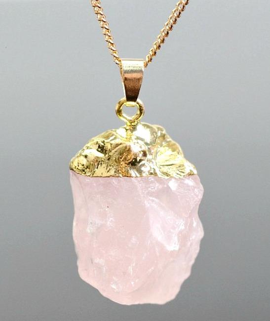 Rose quartz crystal pendant necklace the stellar boutique rose quartz crystal pendant 1 aloadofball Images