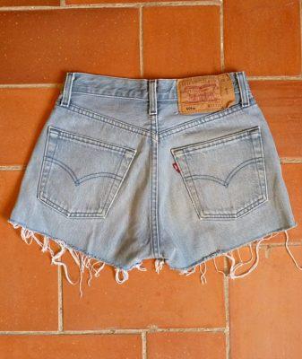 levis high waisted denim shorts 501 5 back