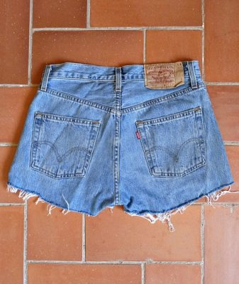 levis high waisted denim shorts 501 7 back
