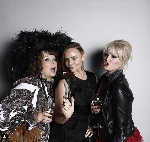 Stella McCartney with 'Ab Fab' duo Jennifer Saunders & Joanna Lumley