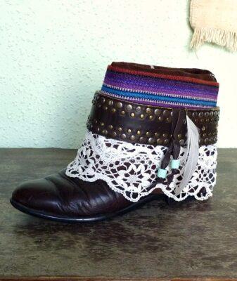 upcycled boho boots vintage belt 3