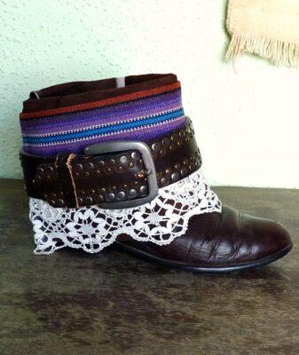 upcycled boho boots vintage belt 4