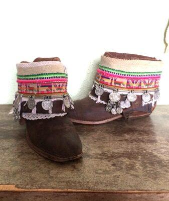 upcycled boho boots vintage peru