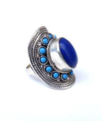 vintage boho hippie ring lapis lazuli 456