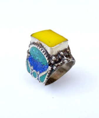 vintage boho hippie ring yellow 77
