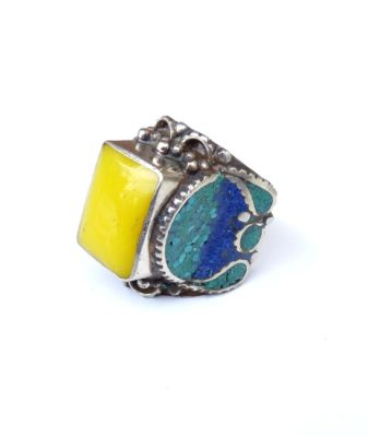 vintage boho hippie ring yellow 78