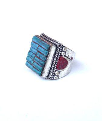 vintage boho ring turquoise bhji