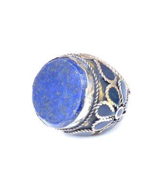 vintage chunky hippie ring lapis lazuli 126