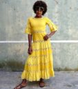 70s vintage yellow maxi dress 1