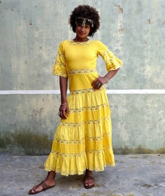 70s vintage yellow maxi dress 1