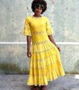 70s vintage yellow maxi dress 2