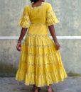 70s vintage yellow maxi dress 4