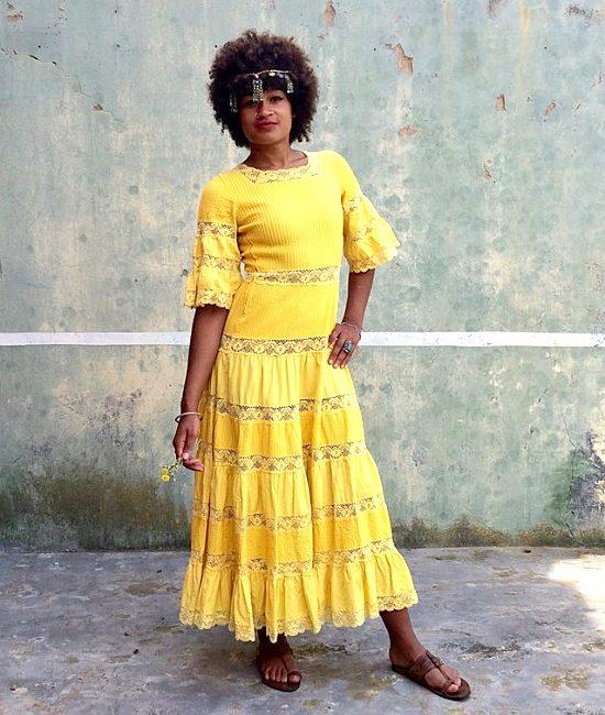 70s vintage yellow maxi dress 7