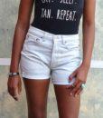 vintage 501 shorts rachel closeup